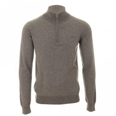 Gant Cotton Wool Zip Sweater - Grey