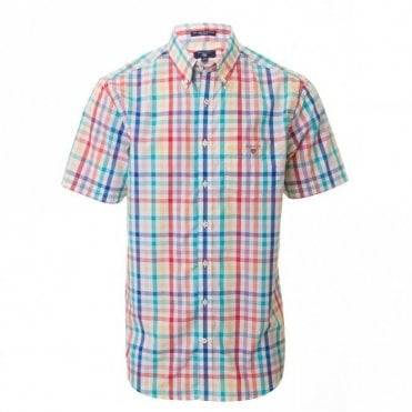 Easy Care Broadcl Reg Short sleeve - White Check