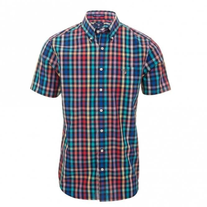 Gant Easy Care Broadcloth Short sleeve Reg - Blue Check