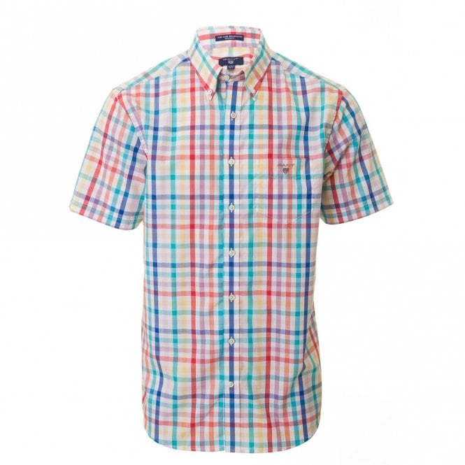 Gant Easy Care Broadcloth Short sleeve Reg - White Check