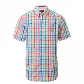 Easy Care Broadcloth Short sleeve Reg - White Check