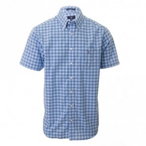 Easy Care Gingham Reg short sleeve - Blue Check