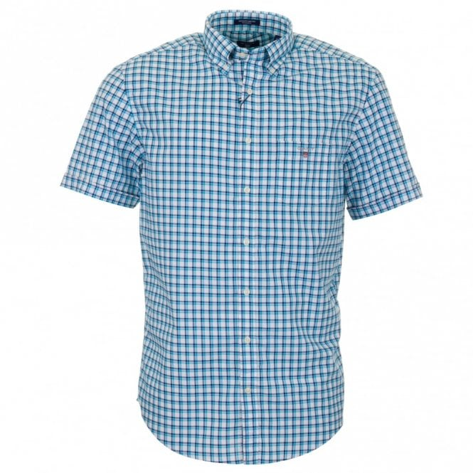 Gant Gc. Backspin Oxford Check Short Sleeve Shirt - Blue Check