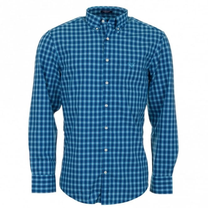 Gant Gc. Dog leg Poplin Long Sleeve Shirt - Blue Check