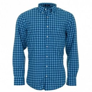Gc. Dog leg Poplin Long Sleeve Shirt - Blue Check