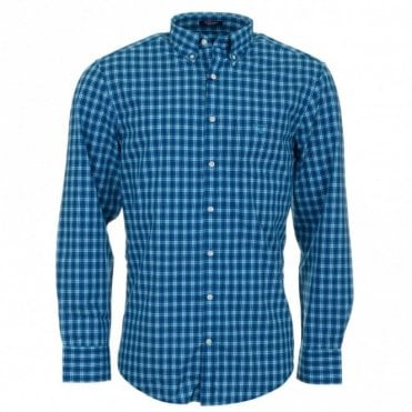 Gc. Dog leg Poplin Long Sleeve Shirt - Blue Check