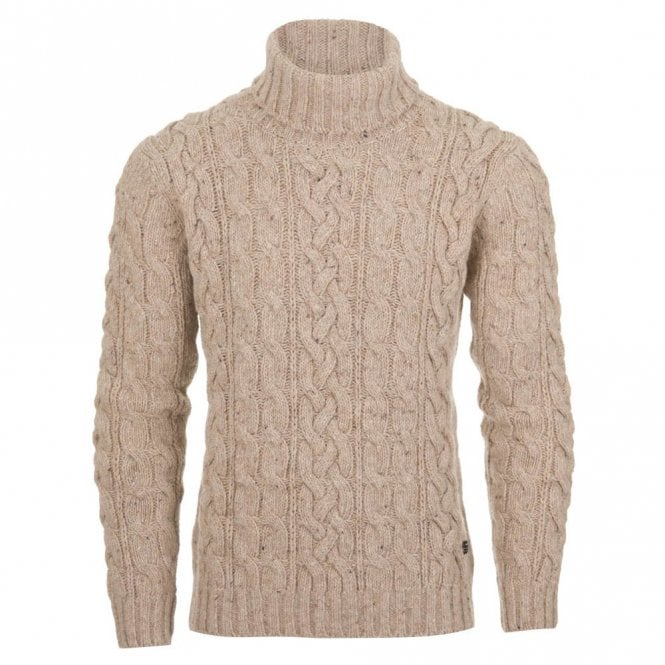 Gant Lambswool Blend Turtleneck Jumper - Beige