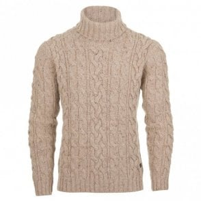 Lambswool Blend Turtleneck Jumper - Beige