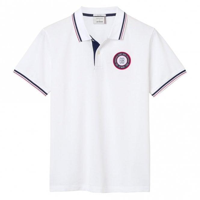 Gant Le Mans Countries Tech Prep Polo Shirt - White