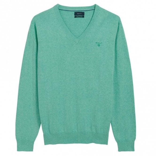 Gant Light Weight Cotton V-Neck Green