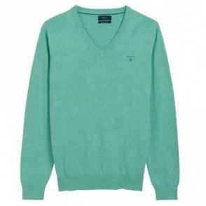 Light Weight Cotton V-Neck Green