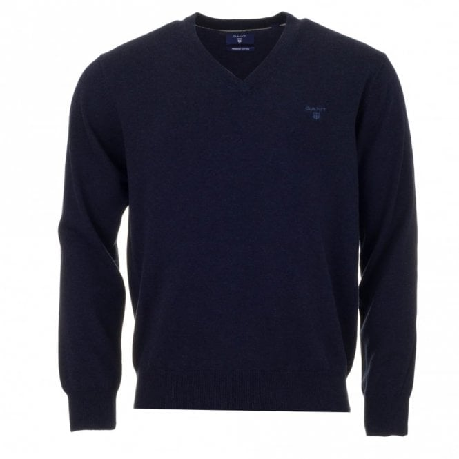 Gant Light Weight Cotton V-Neck Sweater - Blue