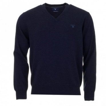 Light Weight Cotton V-Neck Sweater - Blue
