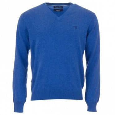 Light Weight Cotton V-Neck Sweater - Blue