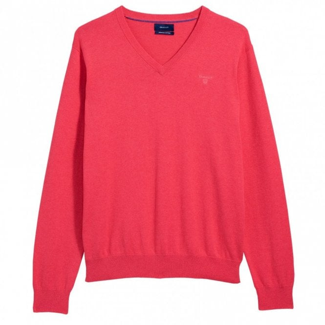 Gant Light Weight Cotton V-Neck - Watermelon Red