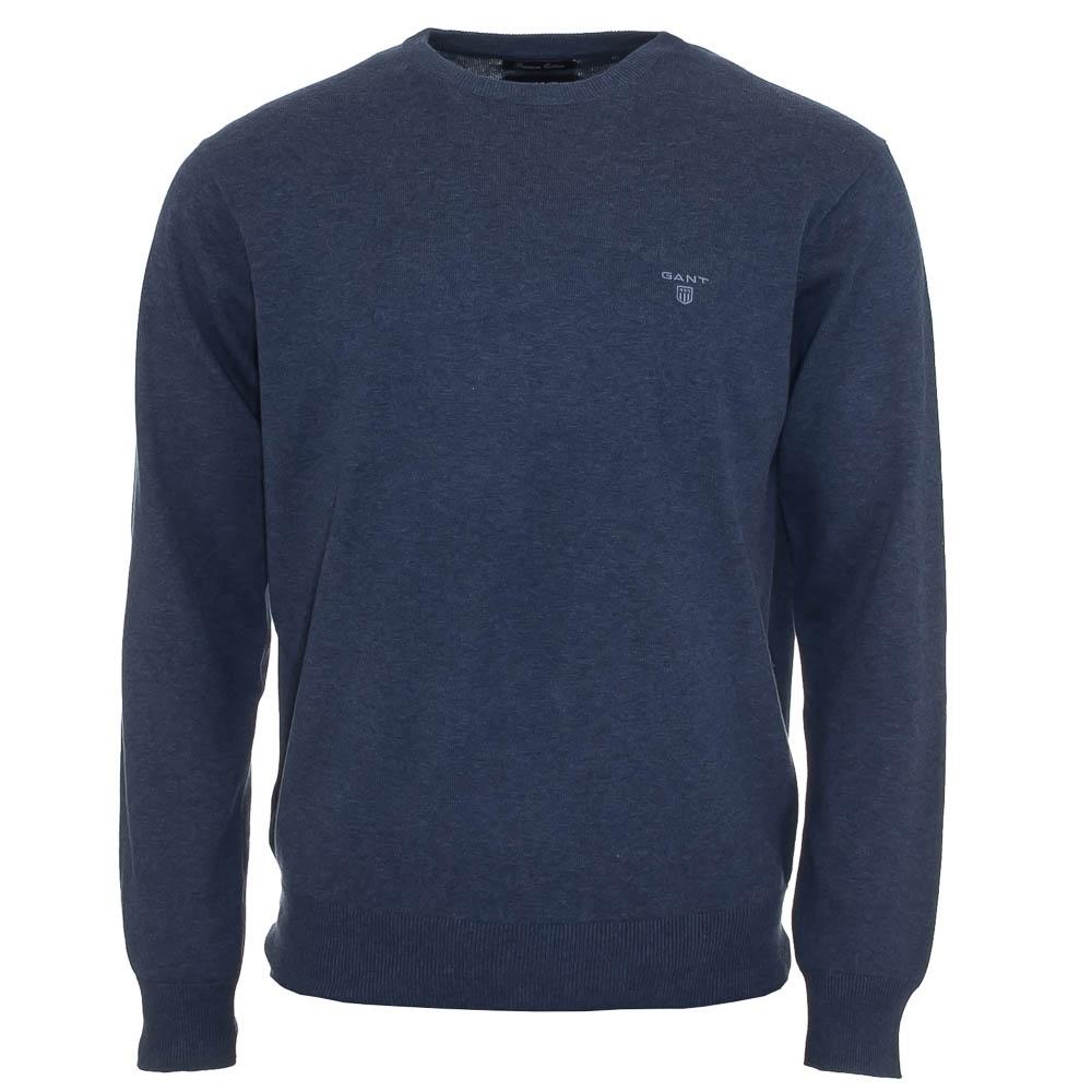 8ff15035896279 Lightweight Cotton Crew Neck Sweater / Jumper - Blue Denim - Mens ...