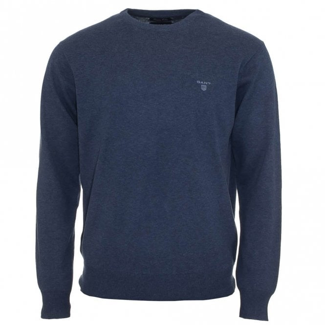 Gant Lightweight Cotton Crew Neck Sweater / Jumper - Blue Denim ...