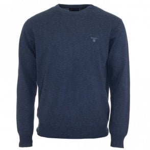 Lightweight Cotton Crew Neck Sweater / Jumper - Blue Denim