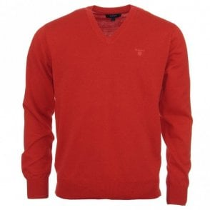 Lightweight Cotton V Neck Sweater - Red