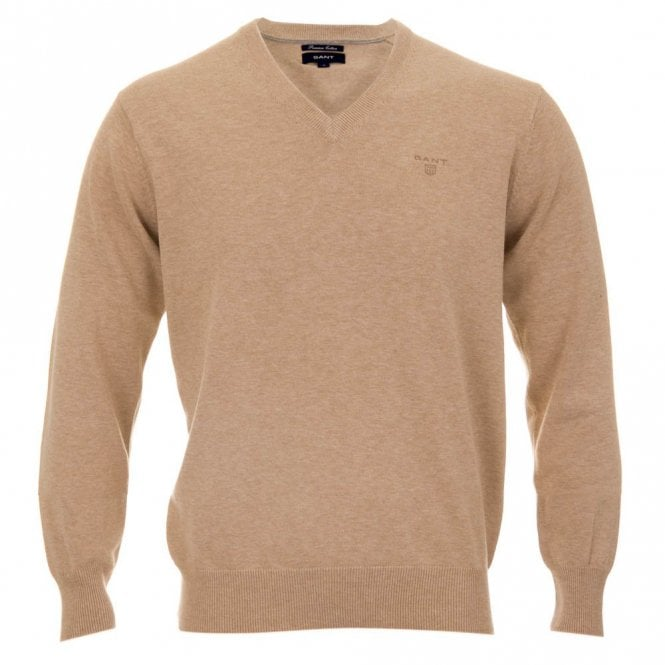 Gant Lt. Weight Cotton V-neck - Beige