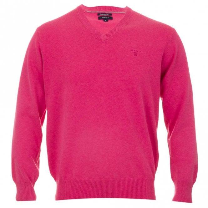 Gant Lt. Weight Cotton V-neck - Pink