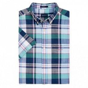 Madras Colourful Short Sleeve Shirt - Persian Blue