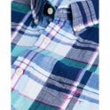 Gant Madras Colourful Short Sleeve Shirt - Persian Blue
