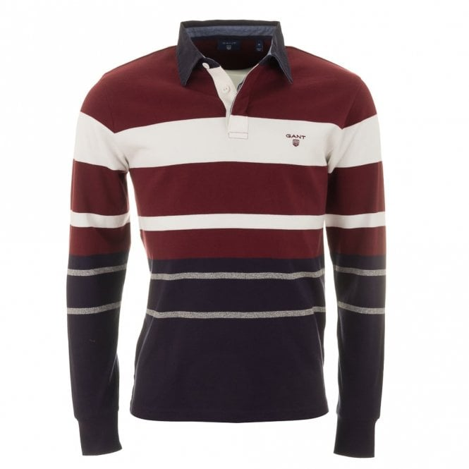 Gant Multi Stripe Heavy Rugger - Wine