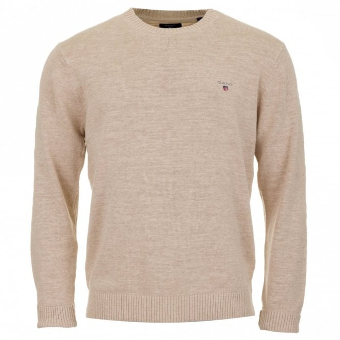 Gant Natural Cotton Crew Sweater - Beige