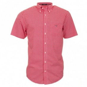 Poplin Gingham Check Short Sleeve Shirt - Red