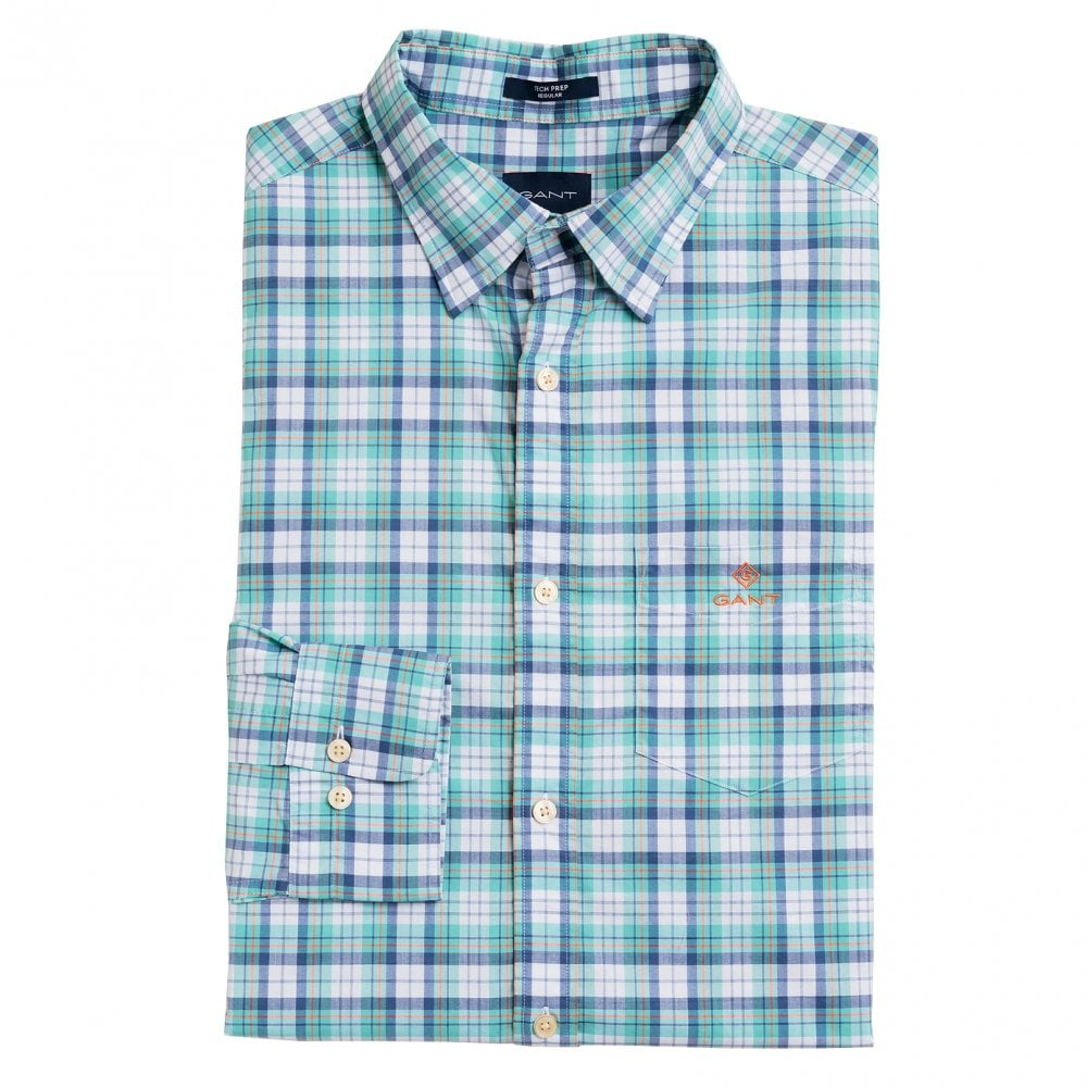 8bcbbd7d22 Gant Regular Fit Tech Prep Broadcloth Check Shirt - green 3018230/355