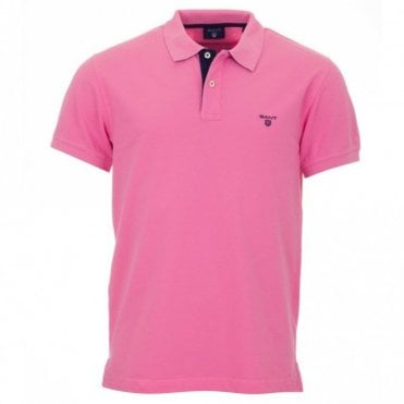 Short Sleeve Pique Polo Shirt - Pink