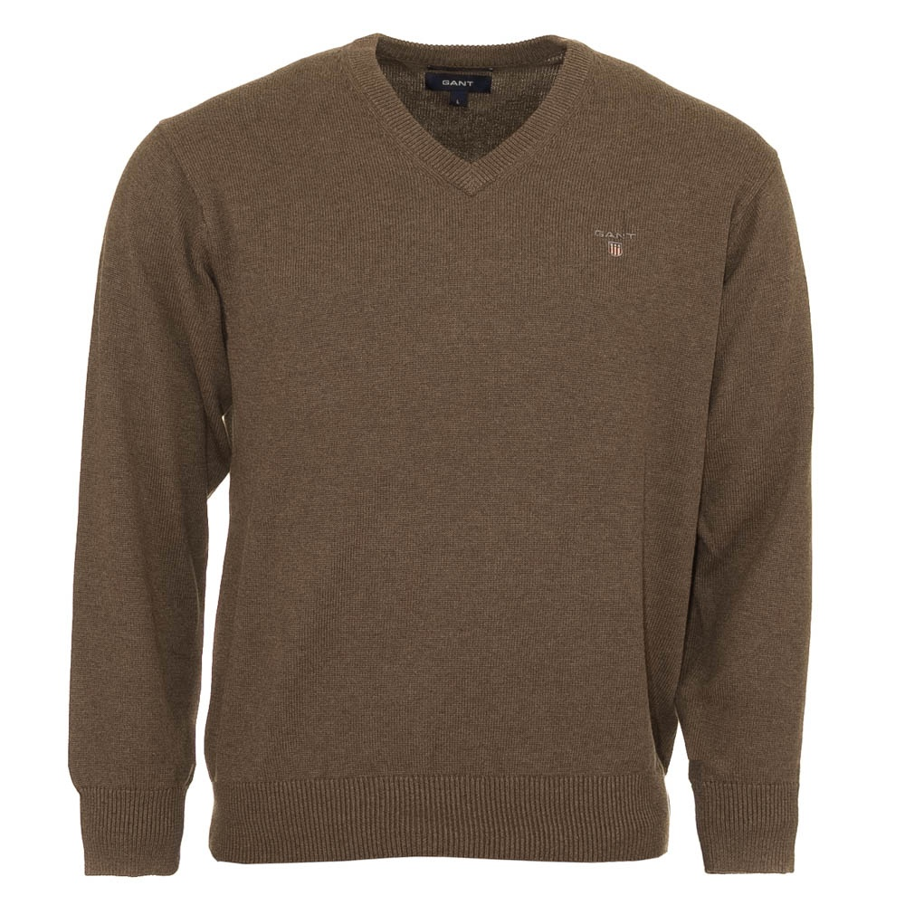 Gant Solid Cotton V Neck Sweater - Brown - Gant from Charles Hobson UK