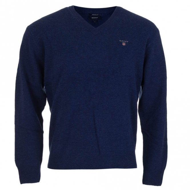 Gant Solid Lambswool V-Neck Sweater - Blue