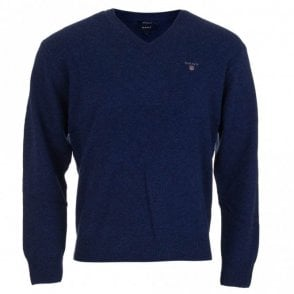 Solid Lambswool V-Neck Sweater - Blue