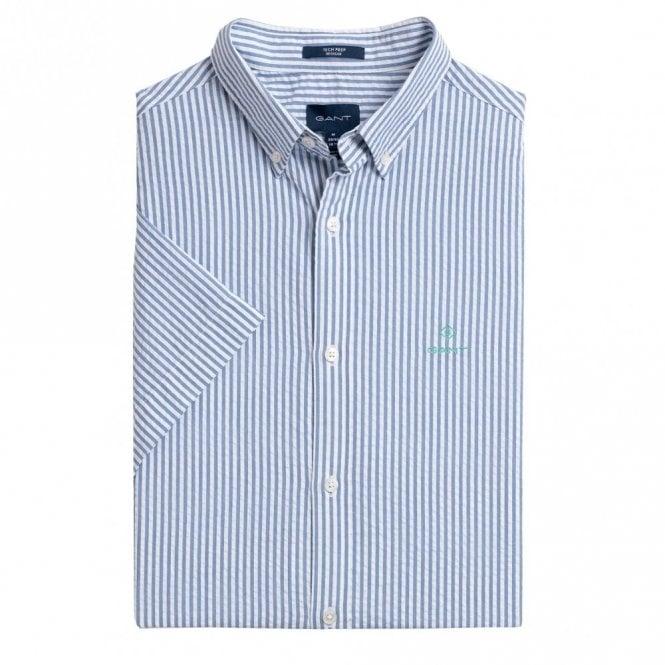 Gant Tech Prep Seesucker Stripe Shirt Short Sleeve - Blue Stripe