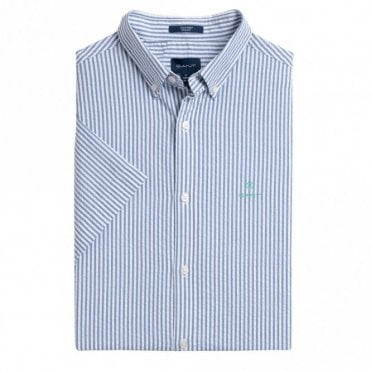 Gant Tech Prep Seesucker Stripe Shirt Short Sleeve - Blue Stripe