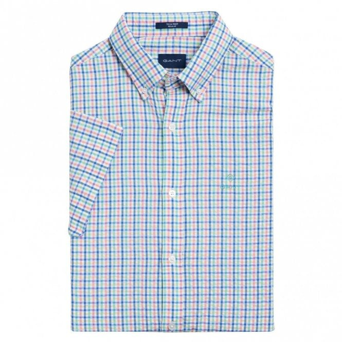 Gant Tech Prep Short Sleeve Seersucker Check Shirt - White