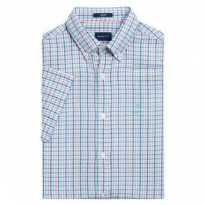 Tech Prep Short Sleeve Seersucker Check Shirt - White