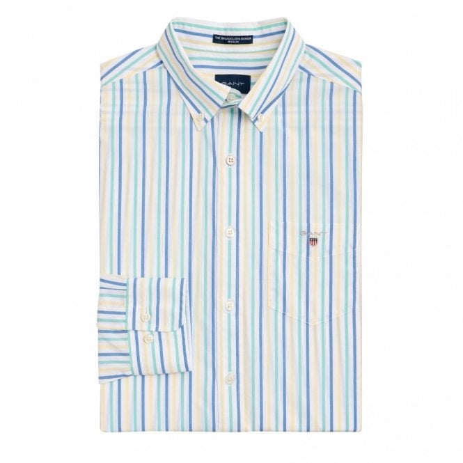 Gant The Broadcloth 3 Colour Stripe Shirt - Green