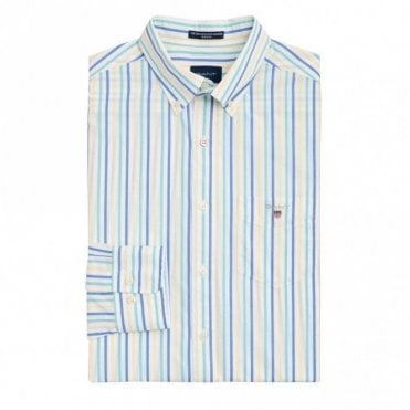 The Broadcloth 3 Colour Stripe Shirt - Green