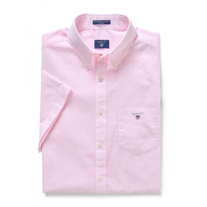 Gant The Broadcloth Banker Reg Ss - Pink Stripe