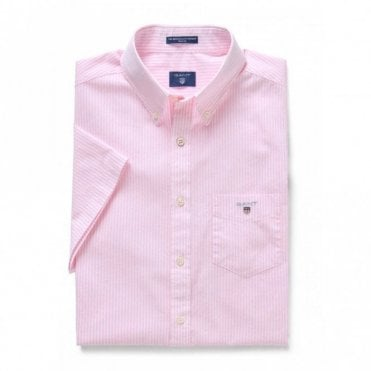 The Broadcloth Banker Reg Ss - Pink Stripe