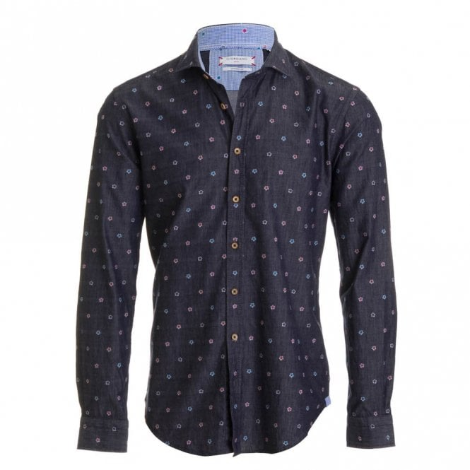 Giordano Denim Blue Flower Shirt - Denim