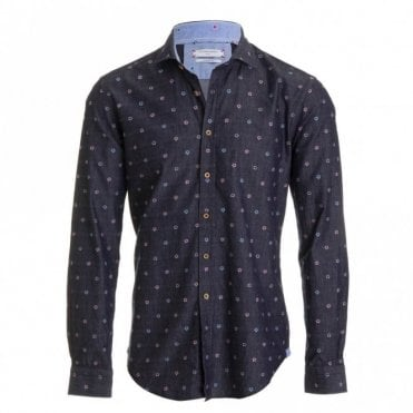 Denim Blue Flower Shirt - Denim