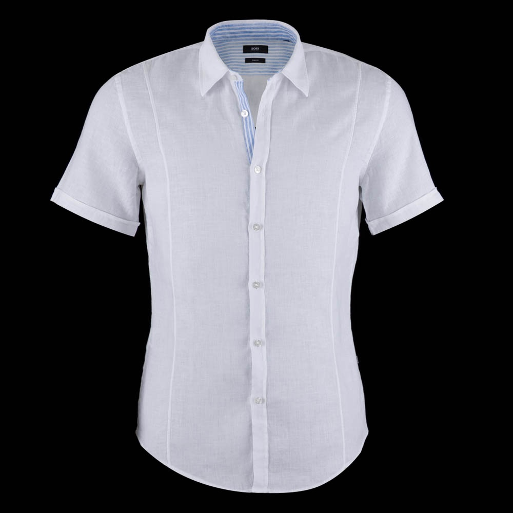 Hugo Boss Marco Short Sleeve Linen Shirt White Hugo