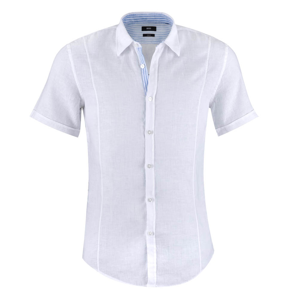 Marco Short Sleeve Linen Shirt White Mens From Charles