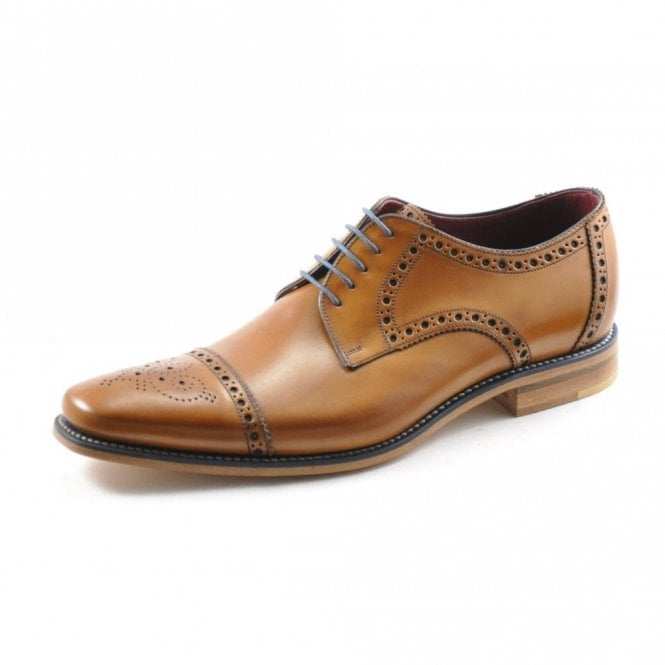 Loake Foley Tan Calf Semi Brogue Lace Up Shoes
