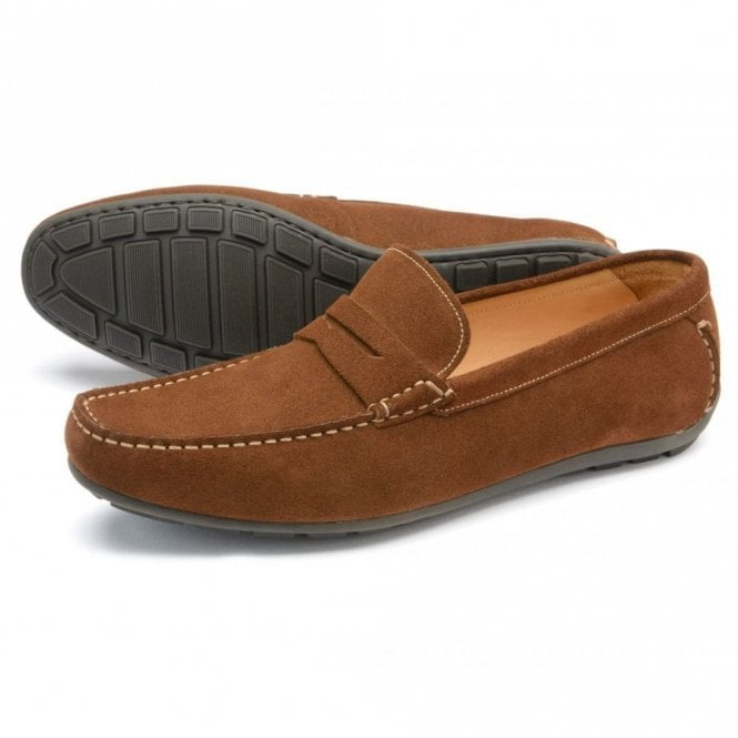 Loake Goodwood Brown Suede Moccasin - Brown