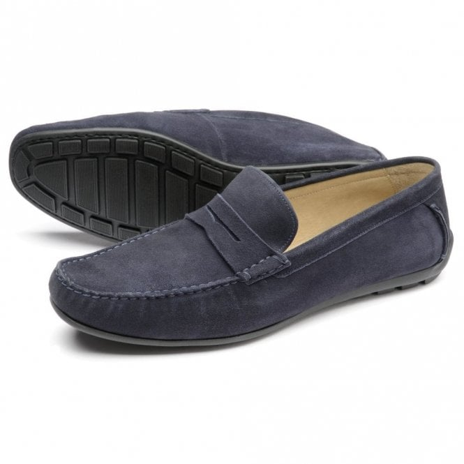 Loake Goodwood Navy Suede Moccasin Shoe